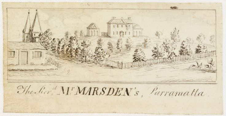 Samuel Marsden's property, Parramatta. From Edward Mason, Views of Sydney and Surrounding District, ca. 1821-23. Mitchell Library, State Library of New South Wales: http://www.acmssearch.sl.nsw.gov.au/search/itemDetailPaged.cgi?itemID=442508