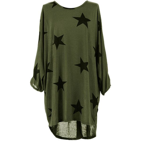 Longline Star Round Neck High-Low Batwing Long Sleeve T-Shirt ($26) ❤ liked on Polyvore featuring tops, t-shirts, long sleeve cotton tees, long-sleeve crop tops, long tee, long line tees and green t shirt