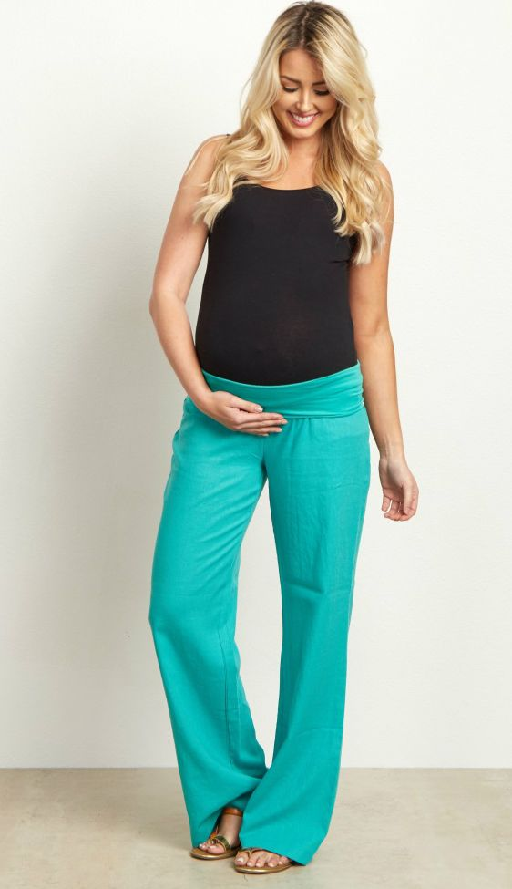 These will be the most comfortable and stylish linen maternity yoga pants you will own in your closet. A simple linen pant with a loose fit and elastic waistband to accommodate a growing belly and easy mobility. Style these with your favorite basic top and flats for a complete casual outfit.  Perfect for women's and maternity.