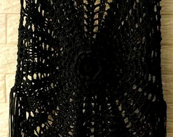 Black Crochet Fishnet Dress V Neck by TinaCrochet2016 on Etsy