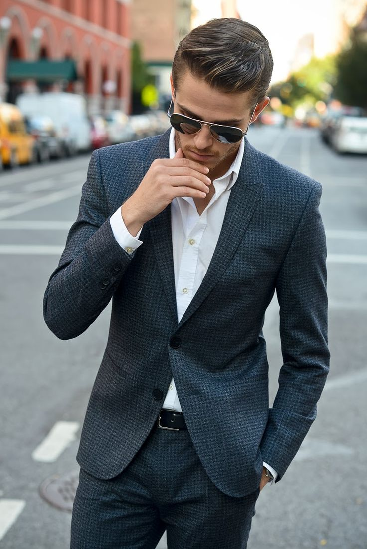 Standard business casual for the gentlemen includes a dress shirt, sport coat, and dress slacks. Starting with a suit (business formal) and taking off your tie is a polished business casual look.