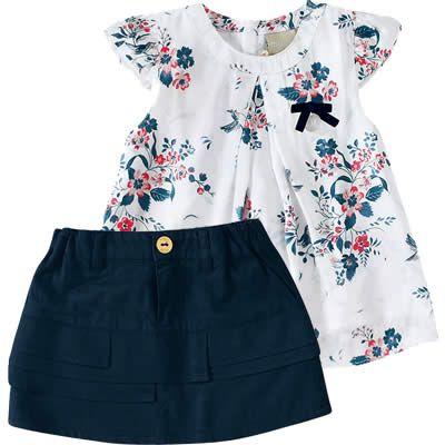 Conjunto Infantil com Blusa de Cetim para Menina Marinho - Milon :: 764 Kids | Roupa bebê e infantil