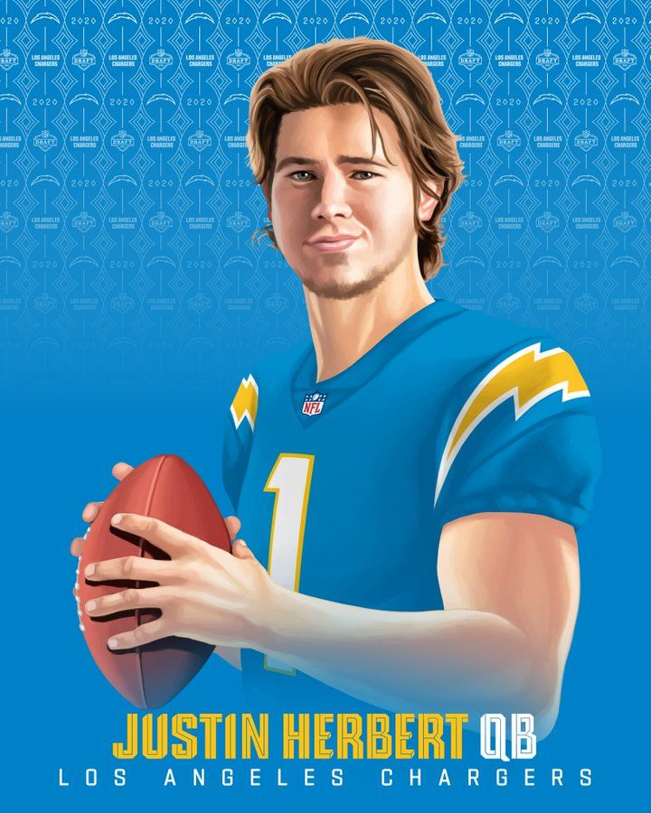 Justin Herbert Qb Chargers Nfldraft On Nfln Espn Abc In 2020 Nfl Nfl Football Art Nfl Football Pictures