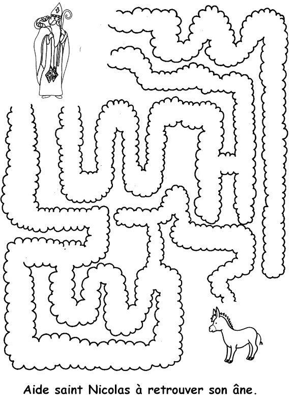 labyrinthe Saint Nicolas à imprimer - Tête à modeler