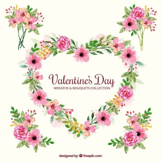 Decorative bouquets and wreath for valentine's day Free Vector