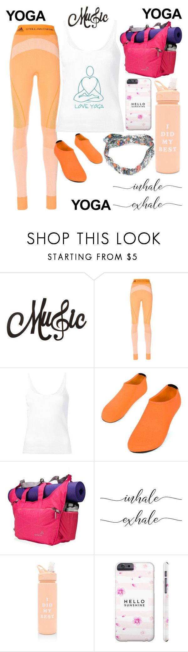 """Orange you glad I do Yoga"" by jayme-becker ❤ liked on Polyvore featuring adidas, CITYSHOP, Apera, ban.do and Maison Michel"