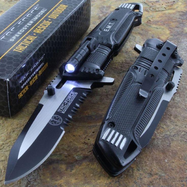 Tac-Force Speedster EMT EMS Folding Pocket Rescue Knife Serrated LED Light NEW in Collectibles, Knives, Swords & Blades, Folding Knives | eBay