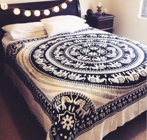 home accessory blue black white elephant cover blanket tapestry home decor indie…