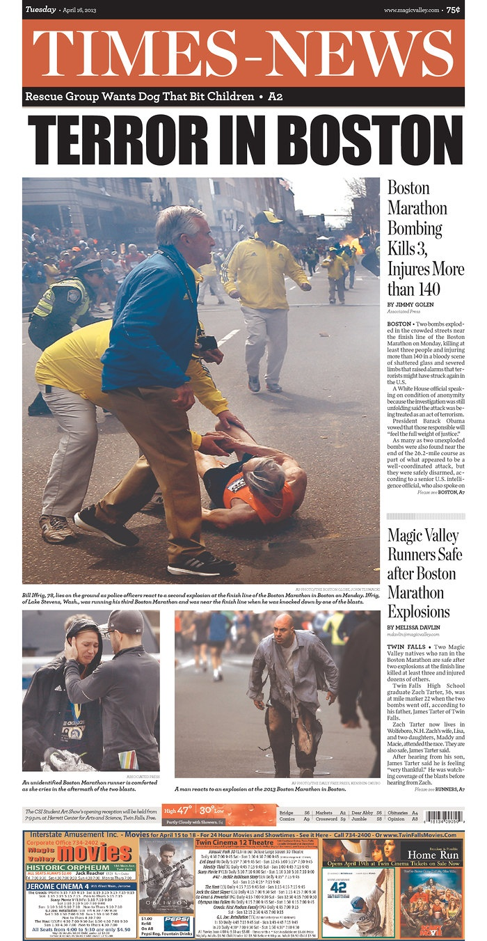 TERROR IN BOSTON - Boston Marathon Bombing Kills 3, Injures More than 140, Magic Valley Runners Safe after Boston Marathon Explosions