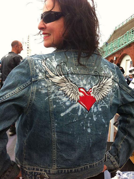Winged Heart woman's denim jacket. Hand painted by AngelBlueArt