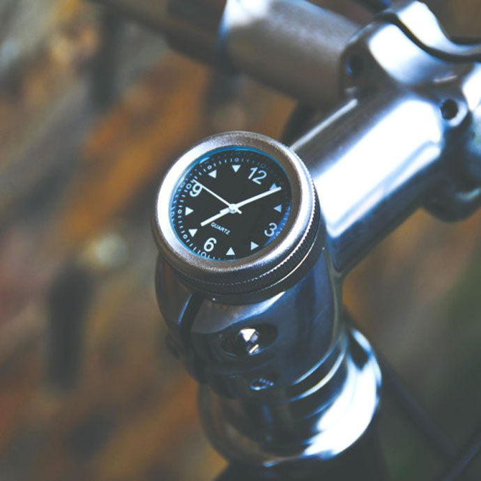 Celebrate the start of British Summer Time later this month with a bicycle stem clock that attaches quickly to almost any bike.