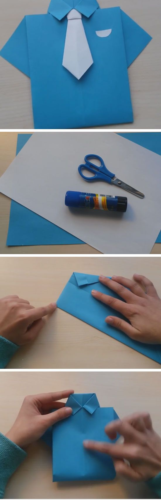 Shirt and Tie Origami Card | Fathers Day Cards for Kids to Make