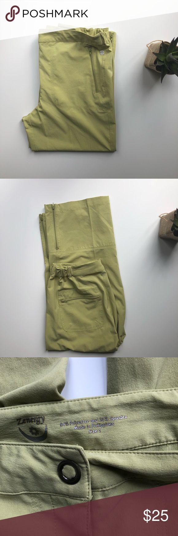 Chico's Green Zenergy Capris Chico's Zenergy Capris • light, sage green • zipped pockets • zippered calf/leg detail • elastic waistband • snap and zipper fly • size 1 (medium) • EUC Chico's Pants Capris