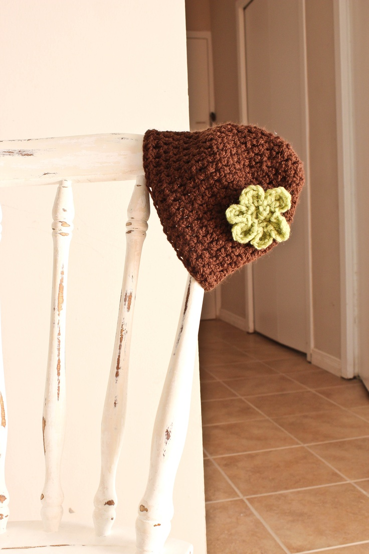 Girls Flower Beanie. Custom orders for size and colour available. $15.00 Visit AngelMouse Knitwear on Facebook