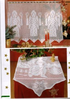 Angel curtain and Santa, filet work with diagrams