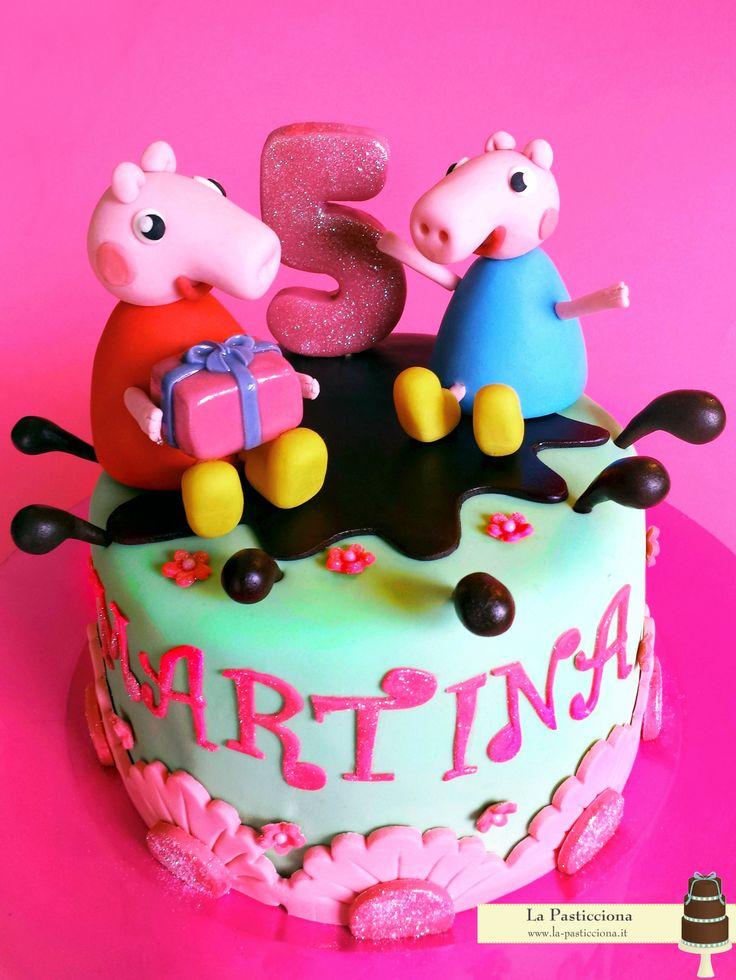 Torta per il compleanno di una bimba, con Peppa Pig e George Pig www.la-pasticciona.it