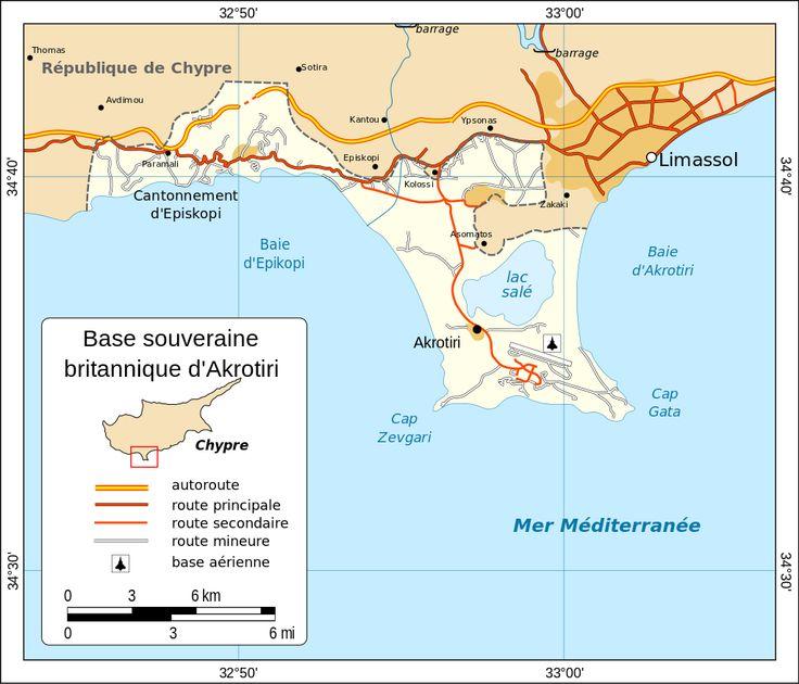 Carte d'Akrotiri ◆Akrotiri et Dhekelia — Wikipédia https://fr.wikipedia.org/wiki/Akrotiri_et_Dhekelia #Akrotiri #British_Overseas_Territory