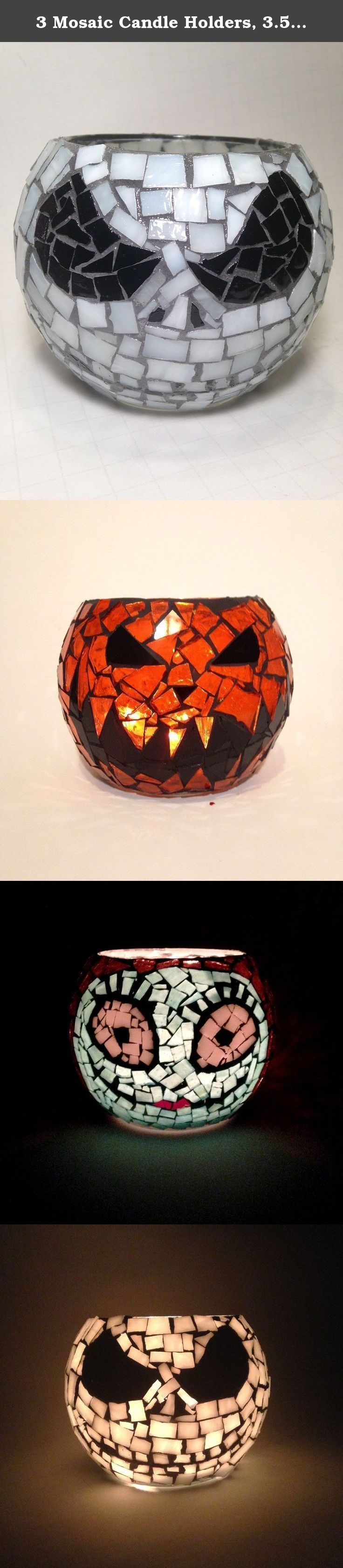3 Mosaic Candle Holders, 3.5 Inch Votive, Skeleton Jack, Pumpkin Jack O lantern and Lady. Handcrafted Mosaic candle holders. 3 Handcrafted mosaic votives. Stained glass is hand cut and bonded to a 3.5 inch glass bubble votive. It is grouted and sealed with triple thick gloss. This votive is great for flame less candles or traditional candles. In the photos we used 3 tea light candles and it lit up beautifully. These are handcrafted, each one is unique and could have a slight variance in…