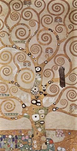 [생명의 나무, 브뤼셀의 스토클레 저택의 장식벽화를 위한 초안], 구스타프 클림트.  1905년~1909년,유화,102x138.8cm,오스트리아 응용미술관.  클림트의 유명한 작품들이 많지만 그것보다 더 제 마음에 들었던 작품. 직접 보면 황금 빛이 더 찬란한..