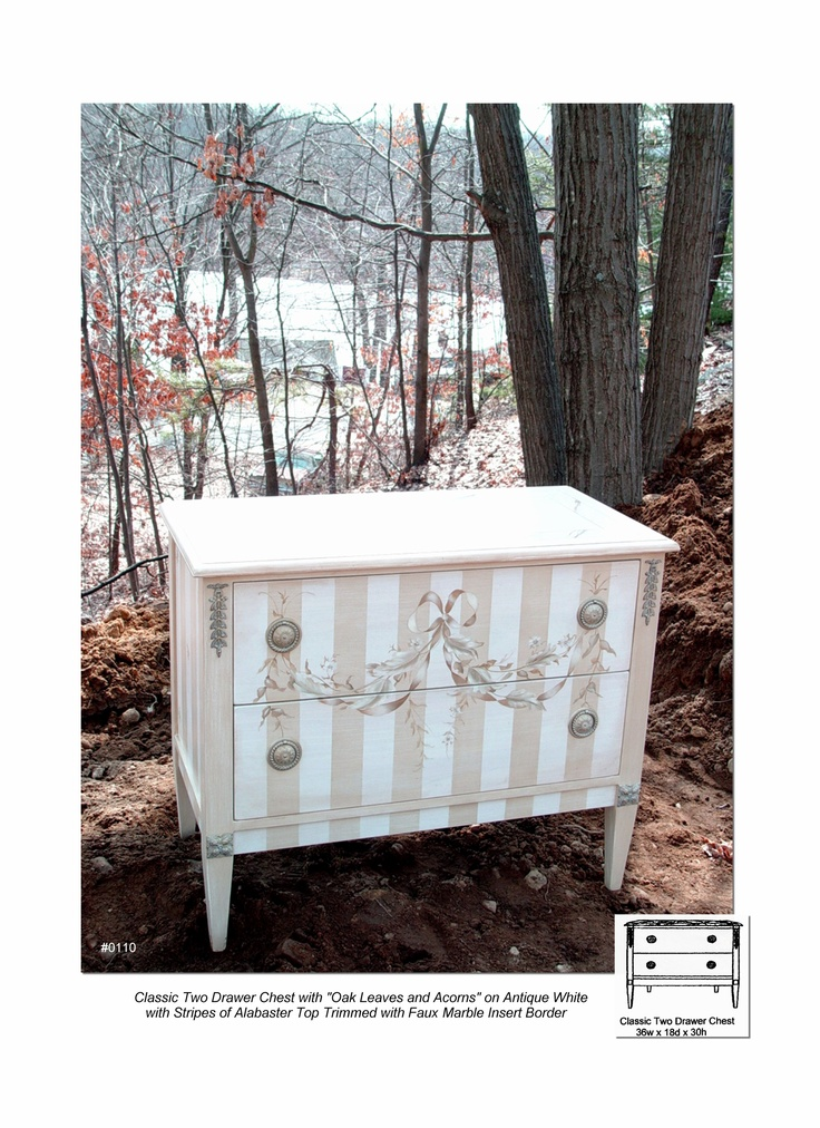 Classic Two Drawer Chest With Oak Leaves And Acorns, Hand Painted Chests,  Striped Furniture