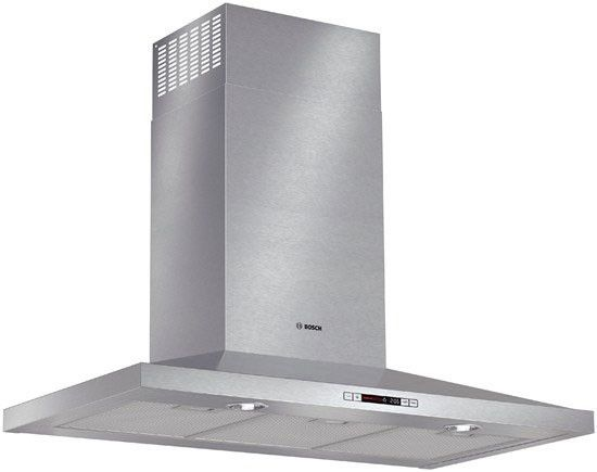 Bosch HCP36651UC Wall Mount Chimney Range Hood with 600 CFM Internal Blower, 4-Speed Touch Controls, Heat Sensor, Built-in Timer, Halogen Lights and Non-Ducted Option: 36 Inch Width