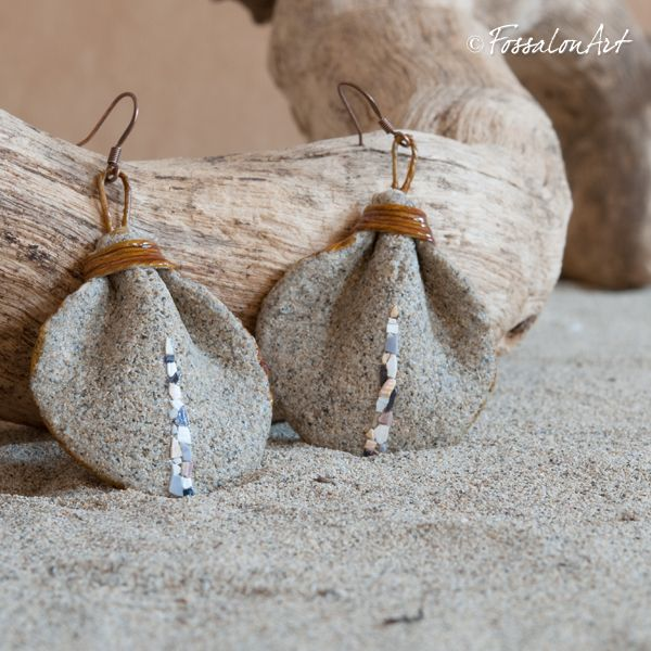 collane con conchiglie | Orecchini in corda, sabbia e frammenti di conchiglie