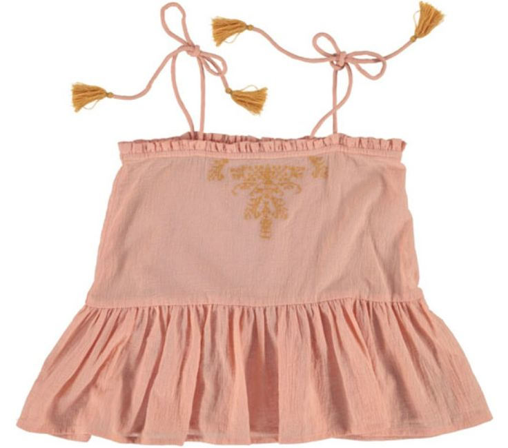 Louise Misha pretty nude strappy top. - Straps to tie on the shoulder with a little bow. - Embroidered on the front. - 100% Cotton