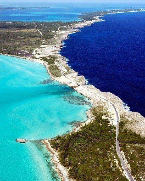 Eleuthera an island in the Bahamas where dark Atlantic Ocean water meets aqua Caribbean Sea  exquisite!