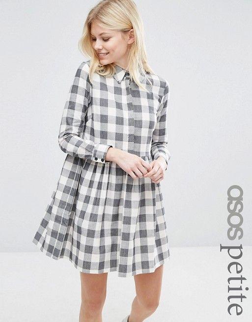 ASOS Petite   ASOS PETITE Gingham Smock Mini Shirt Dress