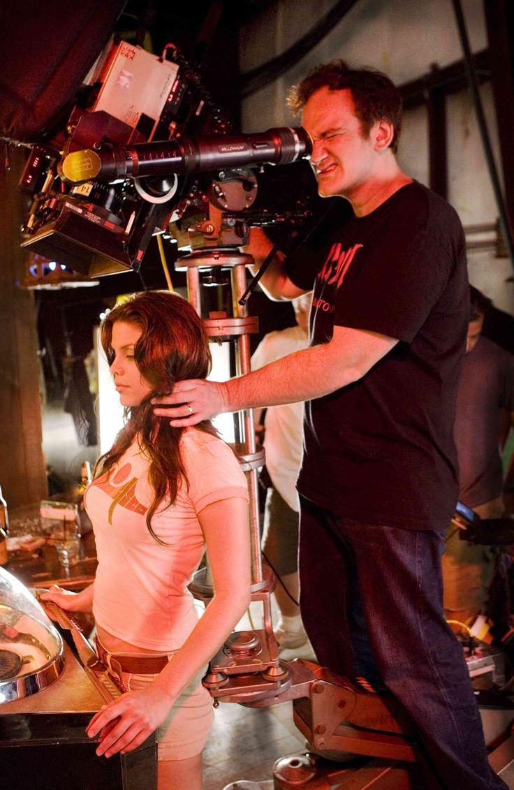 Quentin Tarantino and Vanessa Ferlito on the set of Death Proof