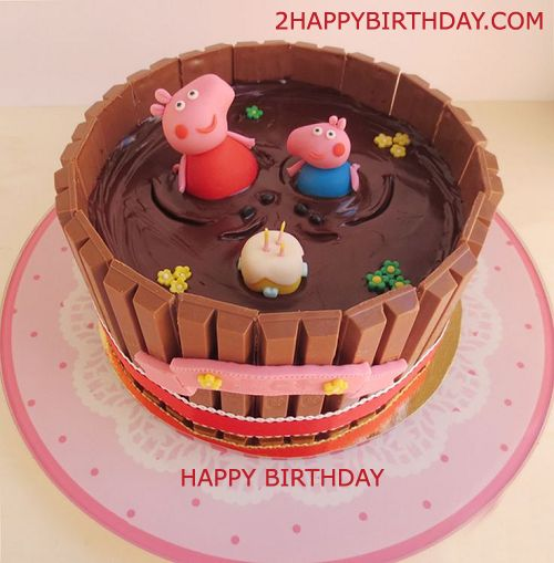 Peppa Pig themed birthday cake for kids with name