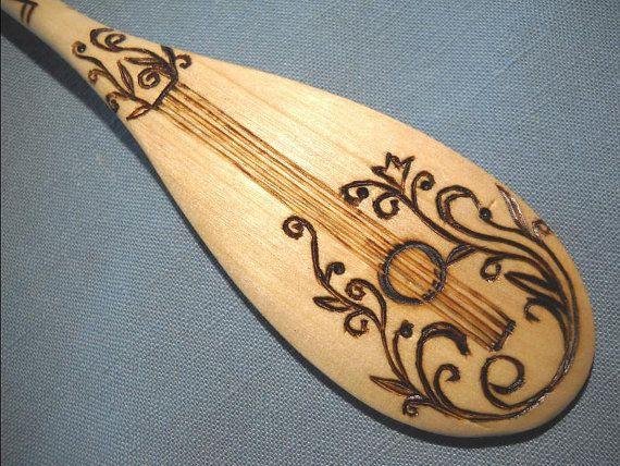 Guitar Wooden Spoon with wood burning pyrography by notjustknots