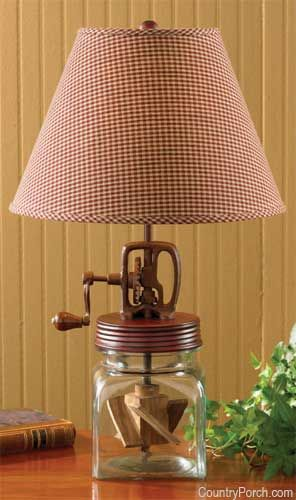 From the country porch · butter churn lamp