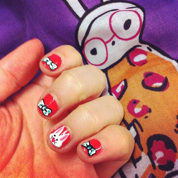 Bows and bunnies, done by WAH nails: Nails Art, Wah Nails