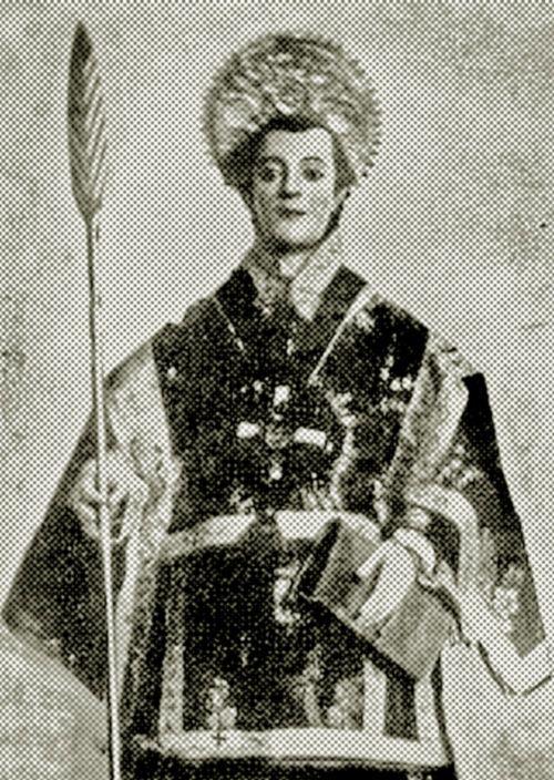 Imagen de la primera figura devocional de San Lorenzo de Tarapacá, en postal de colección particular de la la familia Torres Barraza, que...