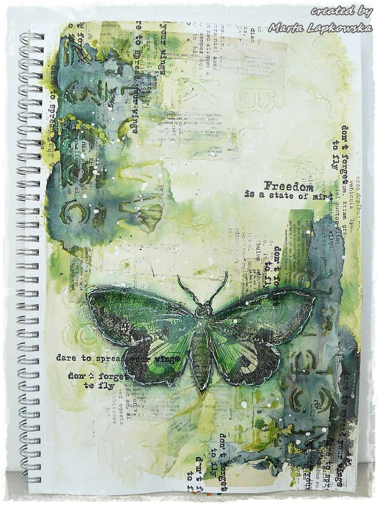 Marta Lapkowska: 'Freedom of moth' journal page + VIDEO tutorial for Words & Paintery