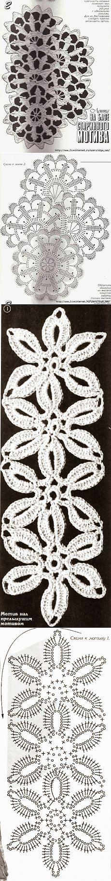 Схемы вязания ленточного кружева.