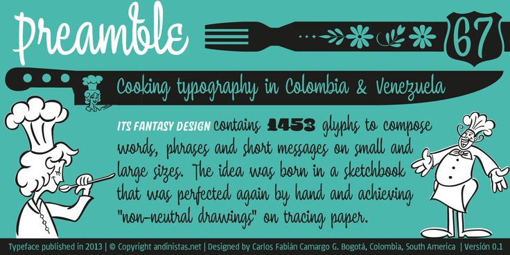 http://myfonts.us/6jqbgN Chef Script is an experimental font. Its fantasy design contains 1463 glyphs to compose words, phrases and short messages on small and large sizes.