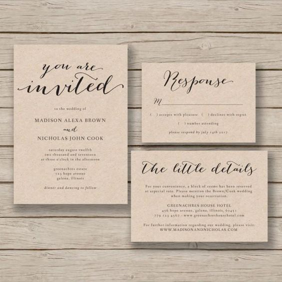 For Without Words Paper Wedding Invitations: Printable Wedding Invitation Template