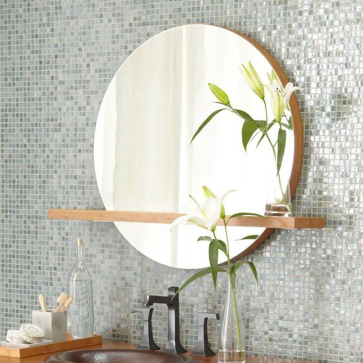 """Solace 28"""" Mirror with Shelf in Caramel by Native Trails."""