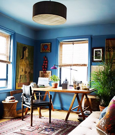 Tour the Ultimate Designer Dream Home// blue ceiling, drum fixture, eclectic office, John Robshaw: Blue Rooms, Elle Decor, New York Cities, Offices, Blue Wall, Colors, Workspaces, Desks, John Robshaw