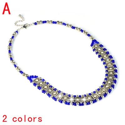 Fashion Shine Stones Jewellery Antique Rhinestone Blue Beads Necklace NL-1946