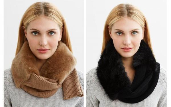 Faux-fur scarf in camel, $95,