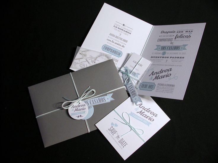 Invitaciones para la boda de Andrea y Mario. Impresión offset digital en papel nettuno de algodón 145 g. gris/menta. Sobre de papel con impresión interna. Detalle de cintas de algodón.