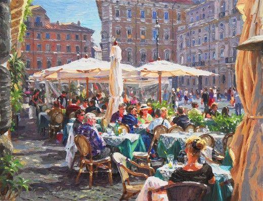 """Cityscape painting by Barbara JAŚKIEWICZ """"Piazza Navona - Rome"""" - from http://www.touchofart.eu/Barbara-Jaskiewicz/bjas9-Na-Piazza-Navona/."""