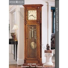 610-804 Howard Miller Floor Grandfather Clock This grandfather clock In the tradition of the Arts and Crafts Guilds, famous for their handcrafted, simple, honest, and pure design. Floor clock has a cream dial continues the simplicity with dark brown corner accents, numerals, and hands. Decorative wooden moldings nicely frame the dial. Wooden, reeded grilles accent the front lower door.