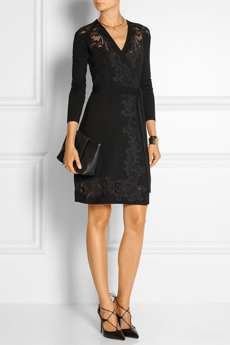 Diane von furstenberg leandra lace paneled wool blend for Diane von furstenberg clothing