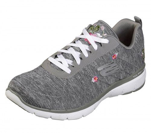 132f7ad376b0 Skechers Flex Appeal are back with a fresh 3.0 In Blossom shoe that  combines a classic lace-up design with modern comfort technology. The  smooth grey marl ...