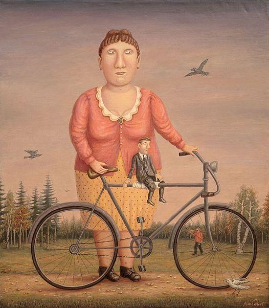La joven de la bicicleta y un hombre