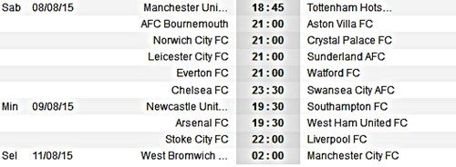Jadwal Bola Premier League Liga Inggris Musim 2015/2016 Bulan ...